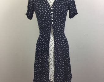 Vintage 90s Navy and White Floral Rayon Mini Dress Grunge XS/S