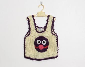 Vintage Kid's Sesame Street Grover Crochet Sweater Vest / Purple and Creme Acrylic / 70s Children's Sleeveless Pullover