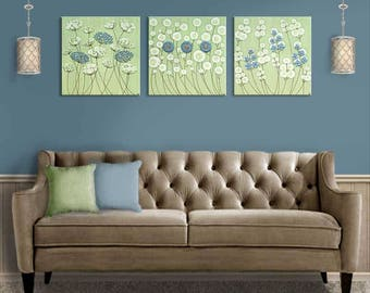 Extra Large Art Canvas Set of Three Flower Paintings in Green and Blue Textured Square Artwork - 62x20