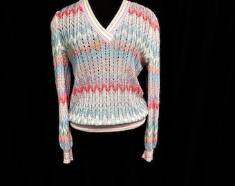 Vintage 70s Pastel Lightweight Sweater Zig Zag MISSONI Style Rainbow Stripe Summer Pointelle Knit See Through Sheer Cutout M Medium