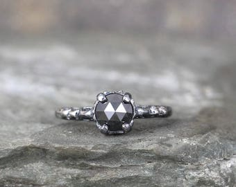 Black Rose Cut Diamond Engagement Ring - Oxidized Sterling Silver Rings- Antique Style Filigree - Promise Ring -Black Diamond Gemstone Ring
