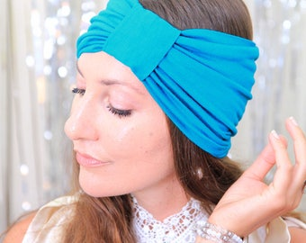 Turban Headband - Women's Hair Band in Teal Jersey Knit - Boho Style Wide Headbands - Lots of Colors
