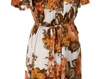 Love that Kay Windsor Vintage Dress - Deep Orange & Brown Print - size L - Hey Viv