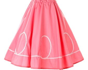 50s Retro Pink Circle Skirt with White Ric Rac Loops - Vintage Inspired for Pinup, Swing, 50s Style - size Small / Medium