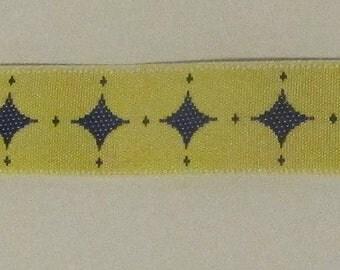 "7 Yards Diamond Reversible Jacquard Ribbon Trim Yellow Navy Blue .5"" Wide"