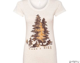 Womens TAKE A HIKE Lightweight Tri Blend t shirt s m l xl xxl Hand Screen Printed Zen Threads