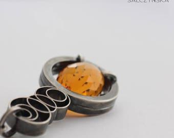 SALE Geometric Citrine Pendant in Sterling Silver