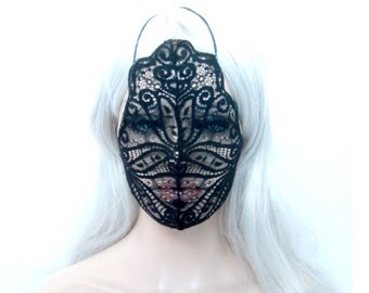 black lace mask, Full lace face mask, Fantasy, Cos play, play wear, costume,  by Renegade Icon Designs