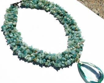 Amazonite Nugget Bib Necklace Vintage Crystal Pendant with Bracelet