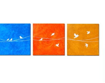 Growing Up - Spreading Wings - Birds on Wire - The Original Painting on Canvas - Contemporary Style - Modern Art - Nicole Dietz Art