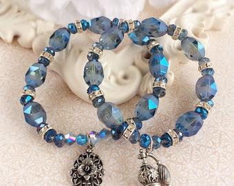 Stack Bracelet Set - Victorian - Layering Bracelets - Blue Stacking Bracelets - VICTORIAN BLUE
