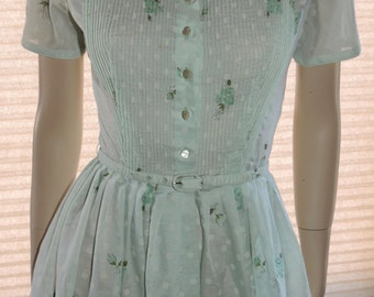 1950s Baby Blue Rose Full skirt Fited Waist Summer Dress