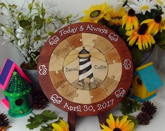 Custom Designed Lighthouse Unity Ceremony Wedding Puzzle Blend Family Wedding Unity Puzzle Personalized Wedding Gift Custom Anniversary Gift