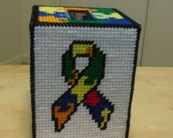 Autism Awareness Tissue Box Cover, Needlepoint Autism Tissue Box Cover