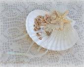 Reserved For Barbiexo13 - Ring Bearer's 'Pillow' - Beach Wedding Shell & Starfish Ring Holder