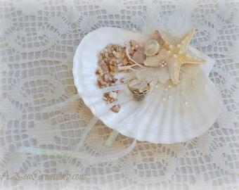 Ring Bearer's 'Pillow' - Beach Wedding Shell & Starfish Ring Holder
