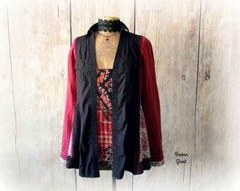 Bohemian Shirt Gypsy Blouse Upcycled Women's Boho Chic Top Art Clothing Long Sleeve Shirt Patchwork Hippie Altered Couture L XL 'WILLOW'