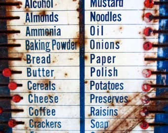 "Antique 1920's ""Boone Kitchen Cabinet"" Grocery List/Metal Sign/ Vintage Kitchen Decor/Collectible"