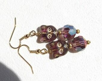 Amethyst Glass Cat Charm Earrings