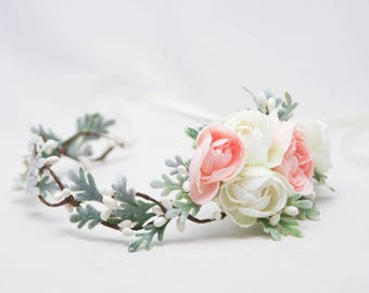 Blush Pink and Ivory Floral Hair Vine of with Dusty Miler Leaves Woodland Wedding Hair Halo Flower Crown Boho Wedding Bridal Hair Wreath