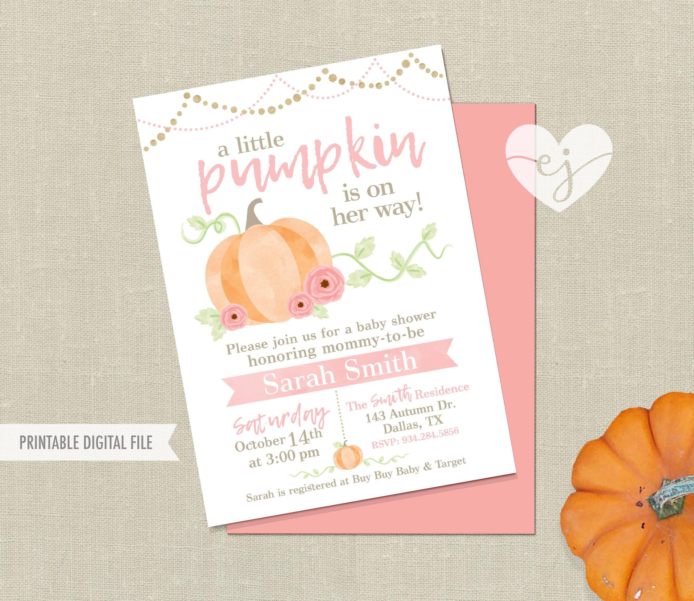 Pumpkin Baby Shower Invitation, Pumpkin Shower Invite, Fall Baby ...