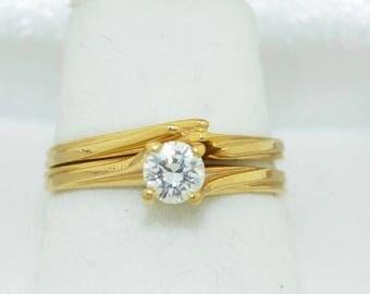 Vintage 14K Fine 30Pt Diamond Ring and Guard Wedding Set
