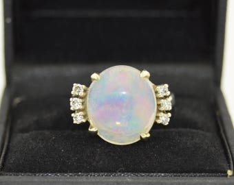 14K Crystal Opal & Diamond Ring
