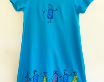 Vtg 80s T Shirt Dress Trapeze / A-Line Sz S On The Rocks CA NEW WAVE Screen Print