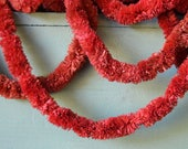 Antique Red Paper Chenille Christmas Garland Trim 44 ft