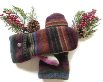 Felted Wool Mittens - Fleece Lined Wool Mittens - Striped Wool Mittens - Recycled Wool Mittens - Upcycled Wool Mittens - Repurposed Wool