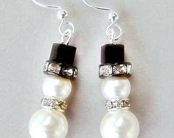 Small snowman earrings, Swarovski pearl and crystal white snowmen earrings