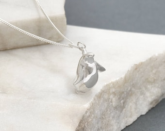 Sterling Silver Penguin Charm Necklace
