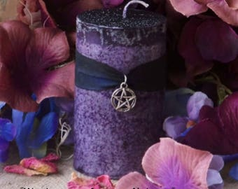 """LYBBESTRE™ """"Old English Witchcraft""""™ Anglo-Saxon Witch Sorceress Purple Pillar Candle with Pewter Pentacle on Black Silk Ribbon"""