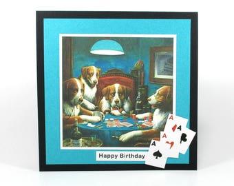 Men's birthday cards, Poker birthday cards, birthday cards for him, retro poker dogs, birthday cards for dad, Poker cards