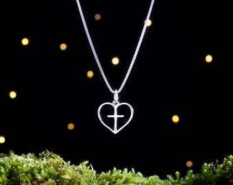Sterling Silver Heart and Cross - Double Sided - (Charm, Necklace, or Earrings)