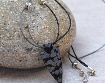 Arrow Head Necklace. Snowflake Jasper Pendant.  Gray Black Rustic LeatherNecklace. Boho Jewelry.