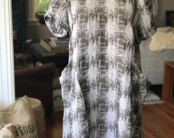 Vintage Wadalanni Gray Linen Dress With Pockets