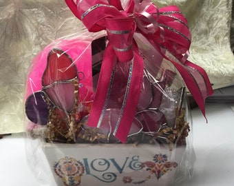 Pamper Yourself Butterfly Gift Basket in Stained Glass
