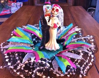 Married Bride and Groom Dia de los Muertos Sugar Skull - Day of the Dead Halloween Wedding Centerpiece