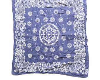 The Vintage Blue Indigo Flower Floral Paisley Cotton Rare Bandana Hankerchief Scarf