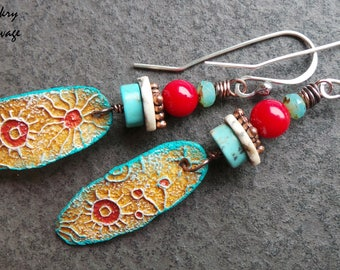 Tribal Earrings, Organic, Rustic, Turquoise, Red Coral, Constellation, Ceramic Charms, Sterling Silver, Bohemian Earrings