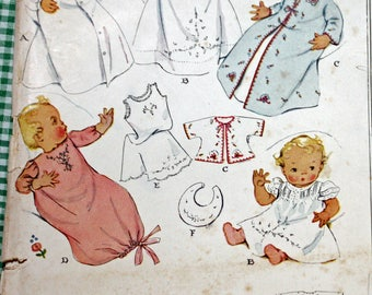 Vintage 1930s Sewing Pattern, McCall 537, Infants' Embroidered Layette,  In 18 or 21 Inch Length, Embroidery Transfer Sheet included