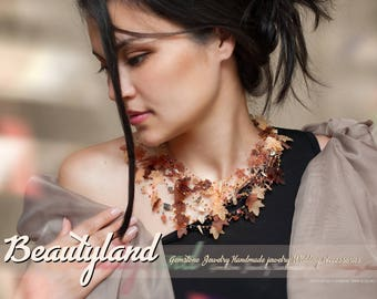 Leaf Necklace Illusion necklace Fall Brown Statement Necklace Women Multistrand necklace Crochet bib necklace Brown Autumn Thanksgiving gift