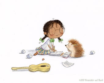 The Songwriters - African American Girl Writing Songs with Hedgehog - Art Print