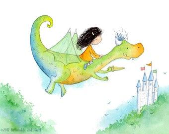 Brunette Girl on Green and Blue Dragon - Art Print - Children