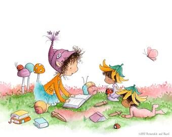 Peridot's Story Time - Brunette Elf Reading to Babies - Fairy Elf Art - Art Print