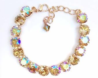Swarovski Crystal Bracelet Rose Gold Finish 39ss Chaton Stones, Rhinestone Tennis Bracelet, Lt Colorado Topaz Mix, Layering Bracelets