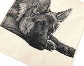 German Shepherd Dog - Hand Printed Flour Sack Kitchen Towel (Unbleached Cotton)