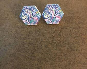 Preppy Earrings, Blue Stud Earrings, Wood Stud Earrings, Stud Earring Set, Blue Earrings, Preppy Jewelry, Preppy Inspired Jewelry, Preppy
