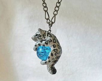 Snow Leopard Necklace Pendant Charm Cute Polymer Clay